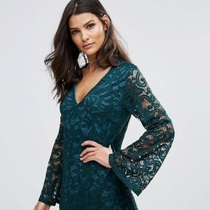 AX Paris Lace Dress With Fluted Sleeves (US 10)